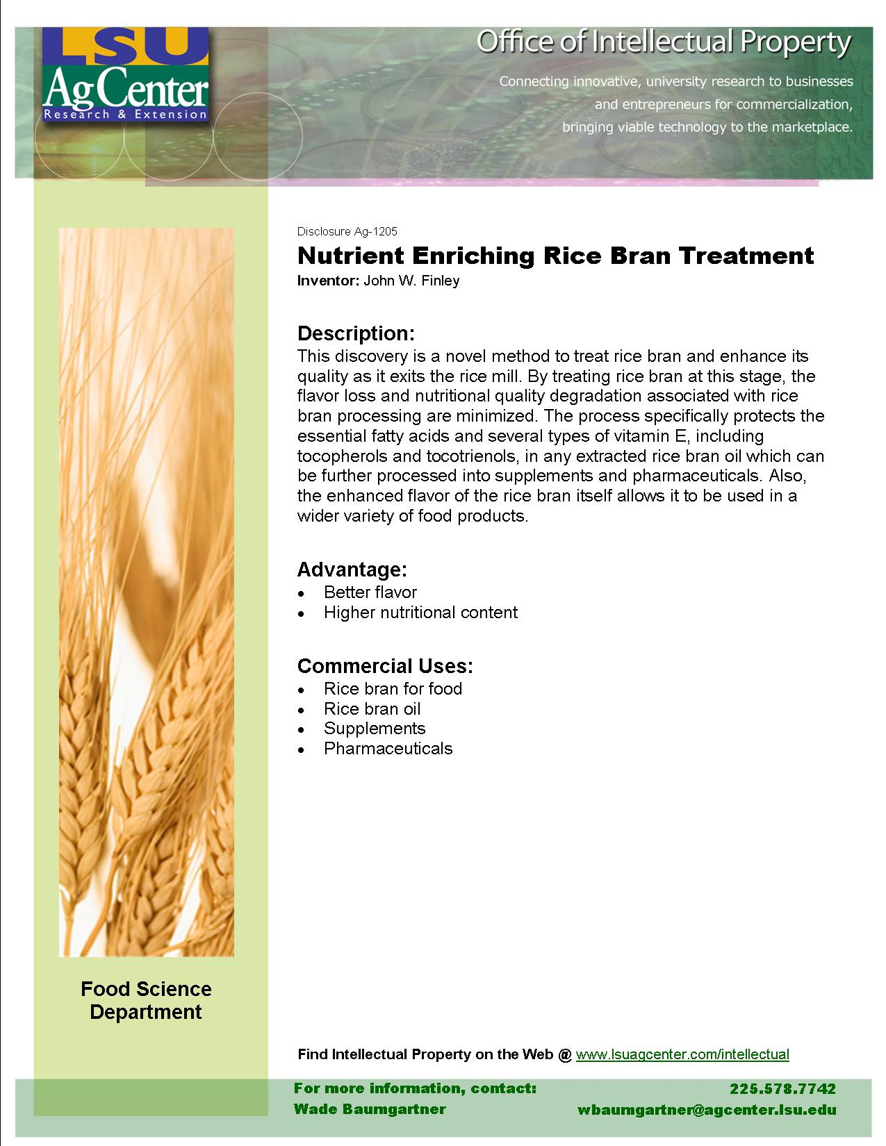 Nutrient Enriching Rice Bran Treatment