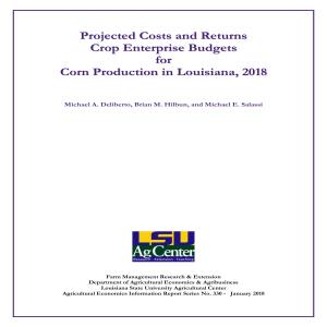 Projected Costs and Returns for Corn in Louisiana, 2018