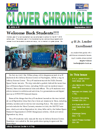 St. John 4-H Clover Chronicle September 2017