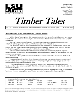 4th Quarter Timber Tales Newsletter