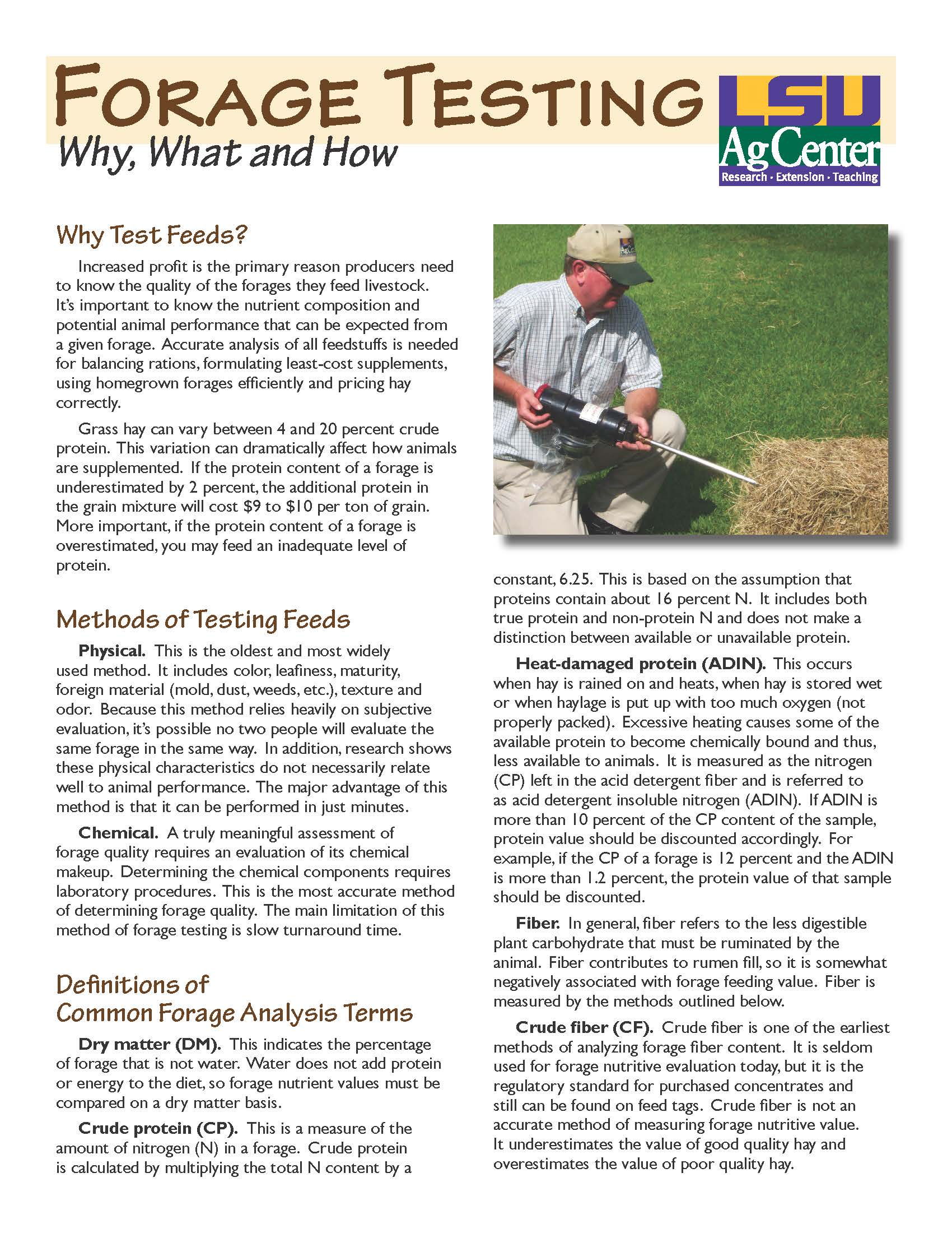 Forage Testing:  Why, What and How