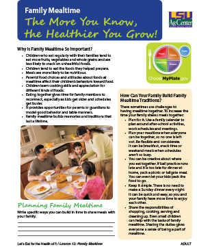 Family Mealtime: The More You Know the Healthier You Grow!