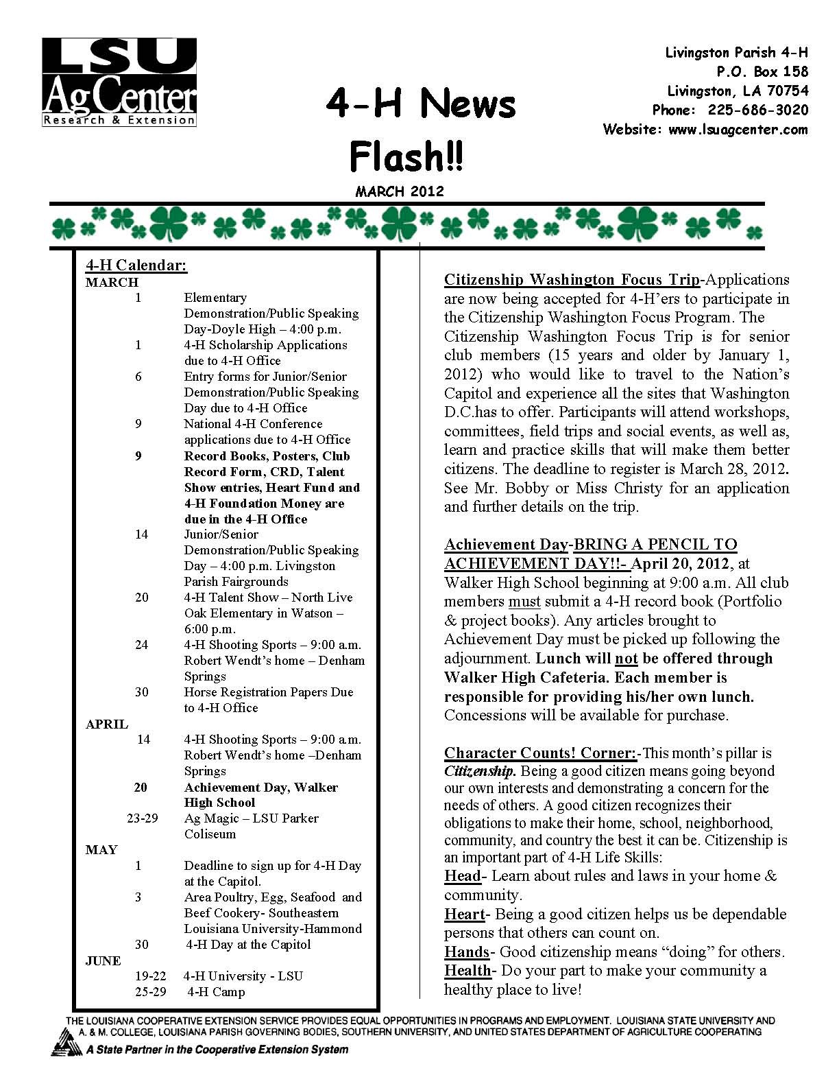 March 2012 4-H News Flash