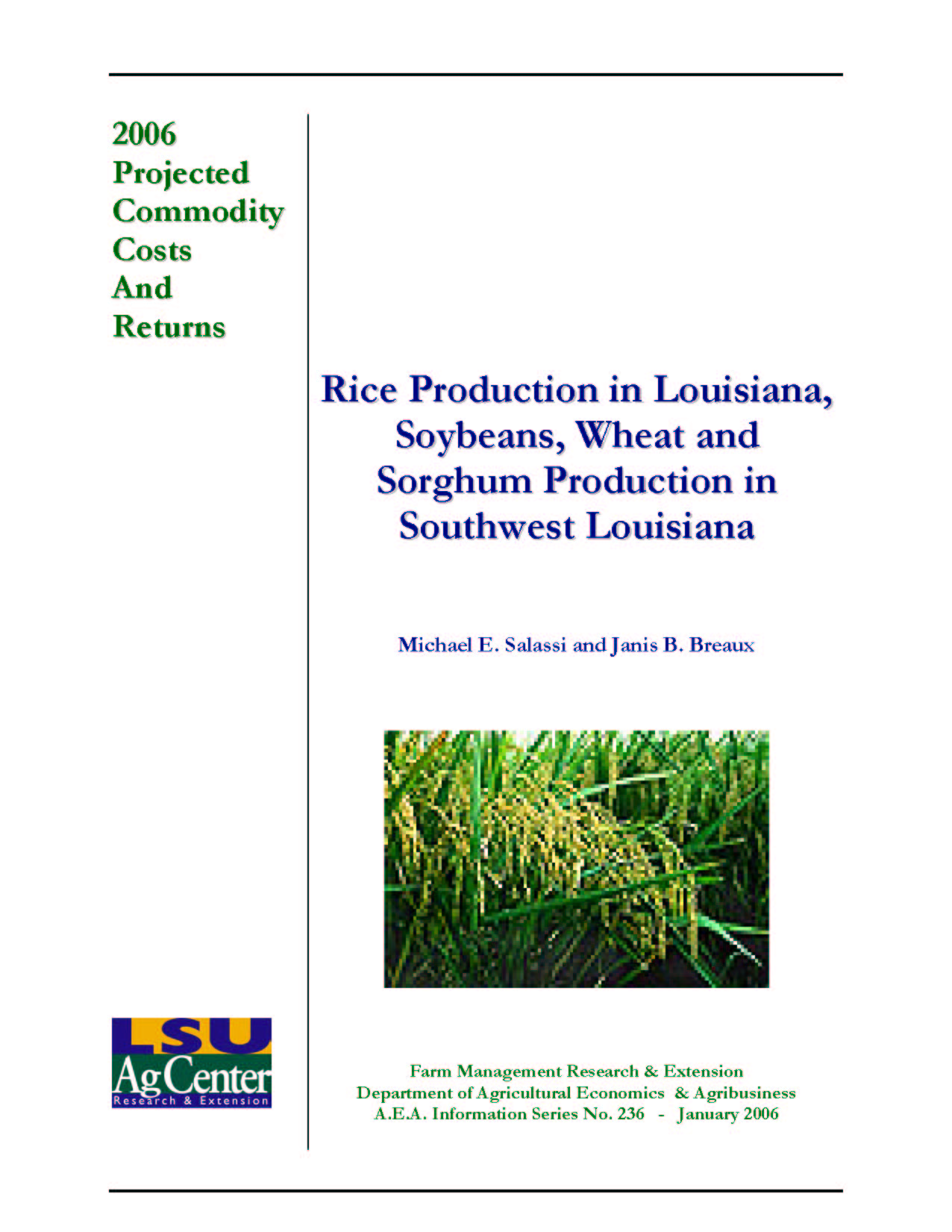 2006 Projected Louisiana Rice Production Costs