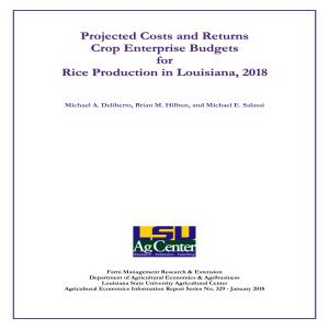 Projected Costs and Returns for Rice Production in Louisiana, 2018