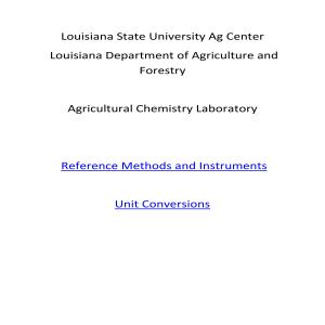LSU AgCenter/LDAF Reference Methods and Unit Conversions