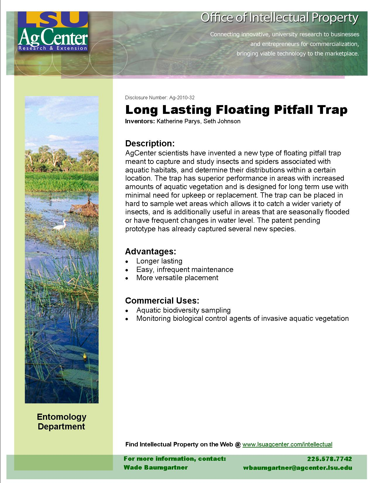 Long-lasting Floating Pitfall Trap