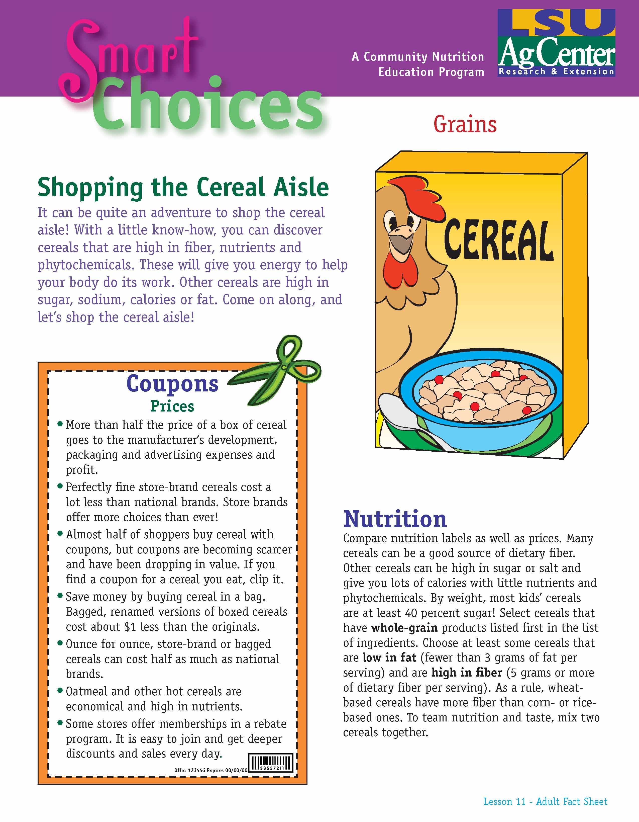 Smart Choices:  Shopping the Cereal Aisle