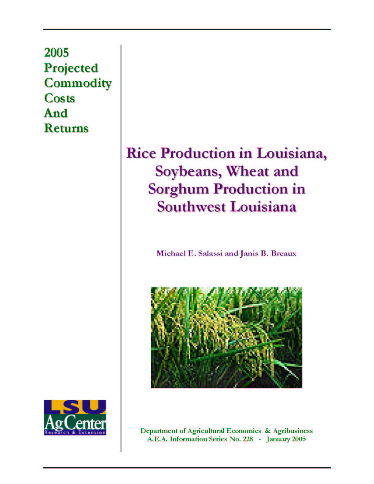 2005 Projected Louisiana Rice Production Costs