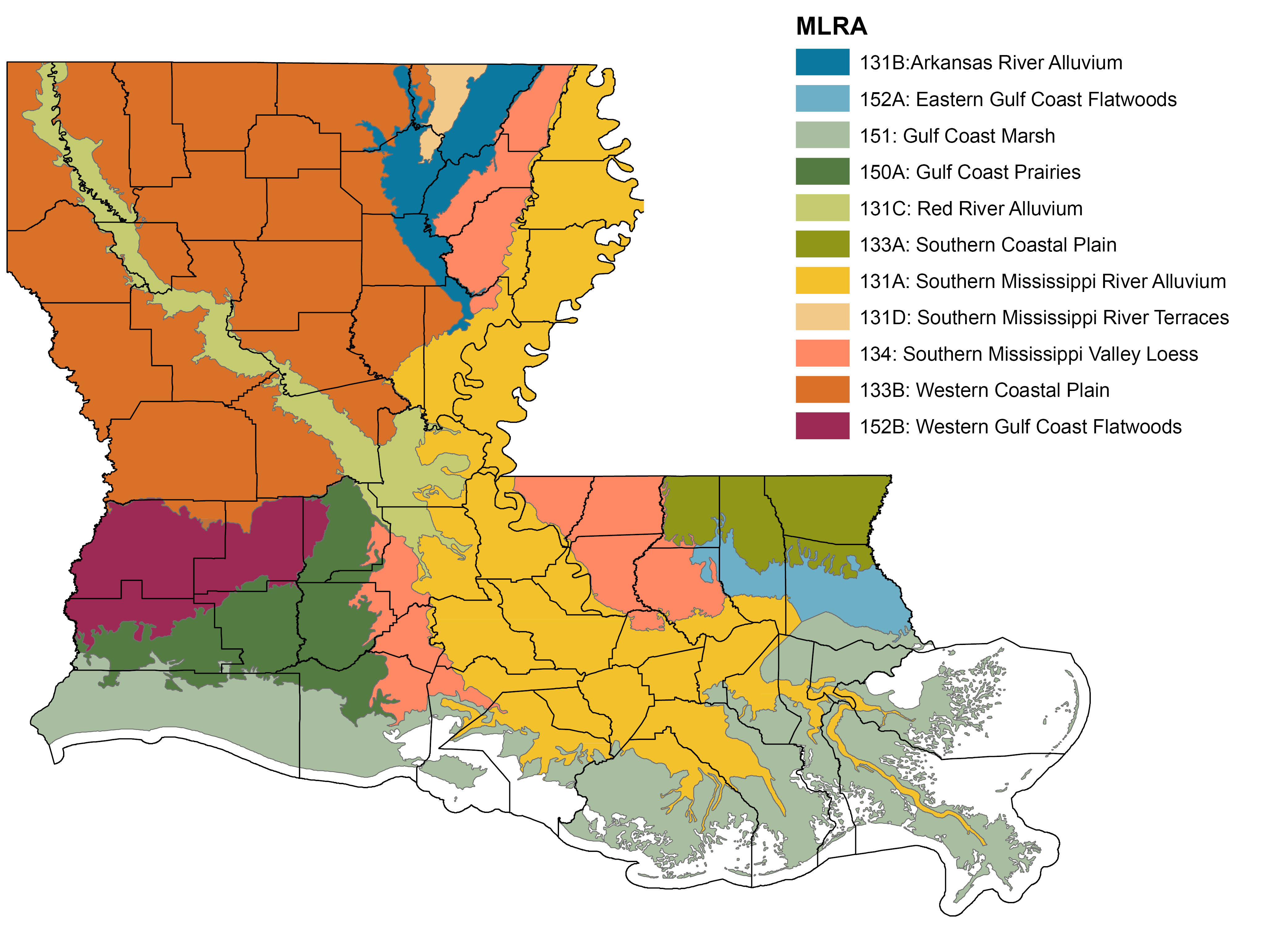 An Overview Of Louisiana Soils - Physical map of louisiana