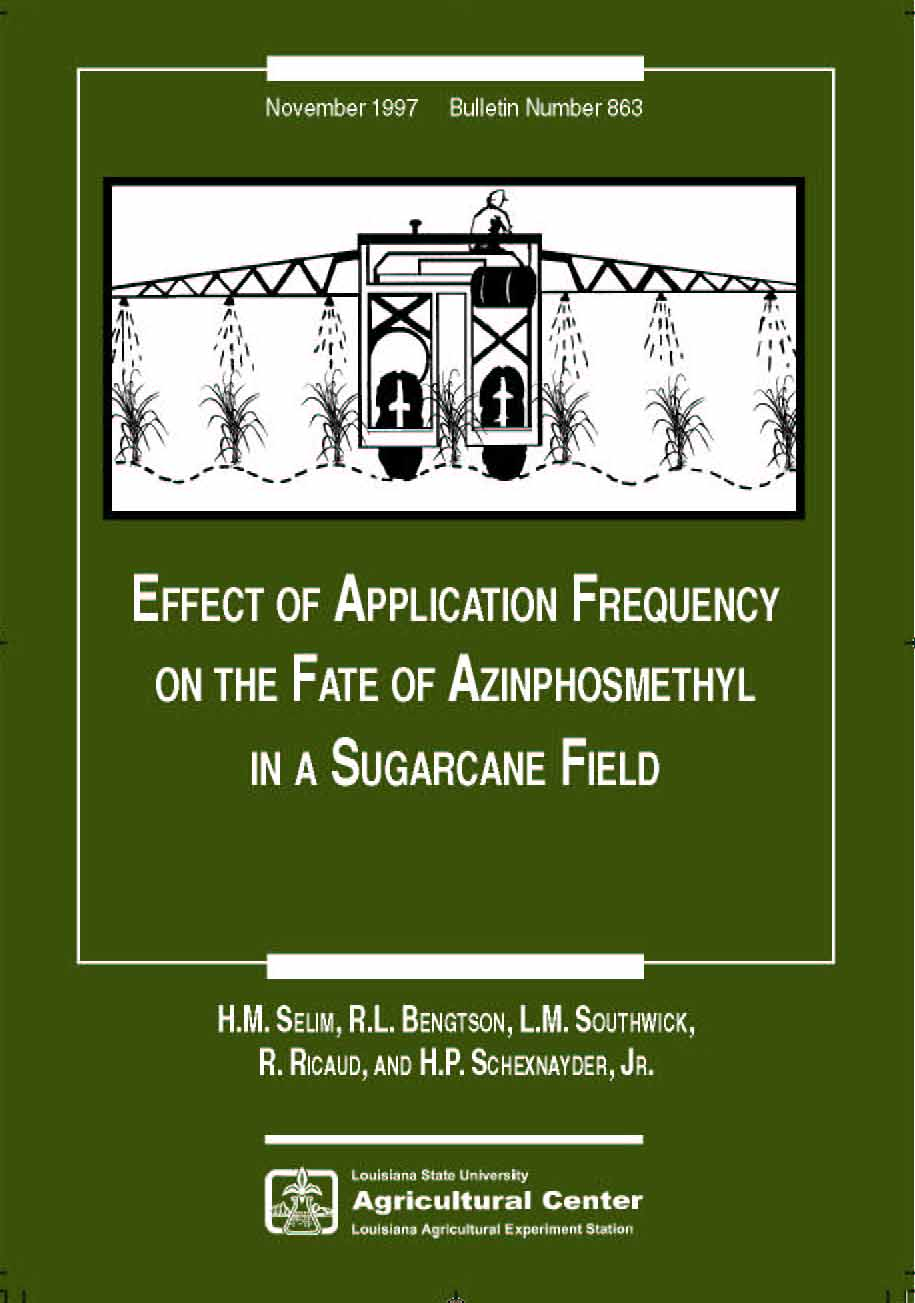 Effect of Application Frequency on the Fate of Azinphsmethyl in a Sugarcane Field (November 1997)