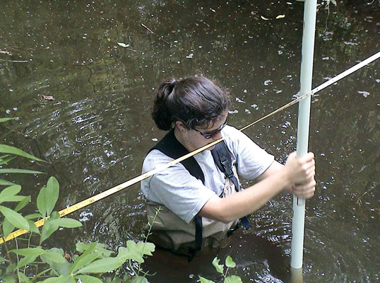 Adrienne Viosca conducts a stream channel cross-sectional profiling