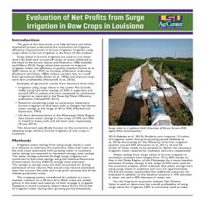 Evaluation of Net Profits from Surge Irrigation in Row Crops in Louisiana