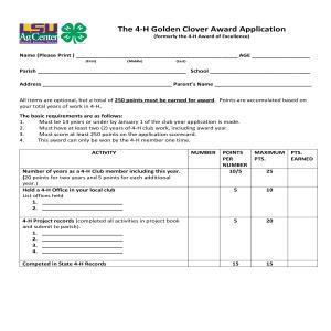 4-H Golden Clover Award Application (formerly 4-H Award of Excellence)