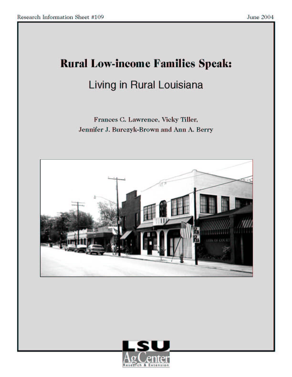 Rural Low-income Families Speak: Living in Rural Louisiana (June 2004)