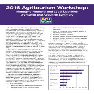 2016 Agritourism Workshop: Managing Financial and Legal Liabilities Workshop and Activities Summary