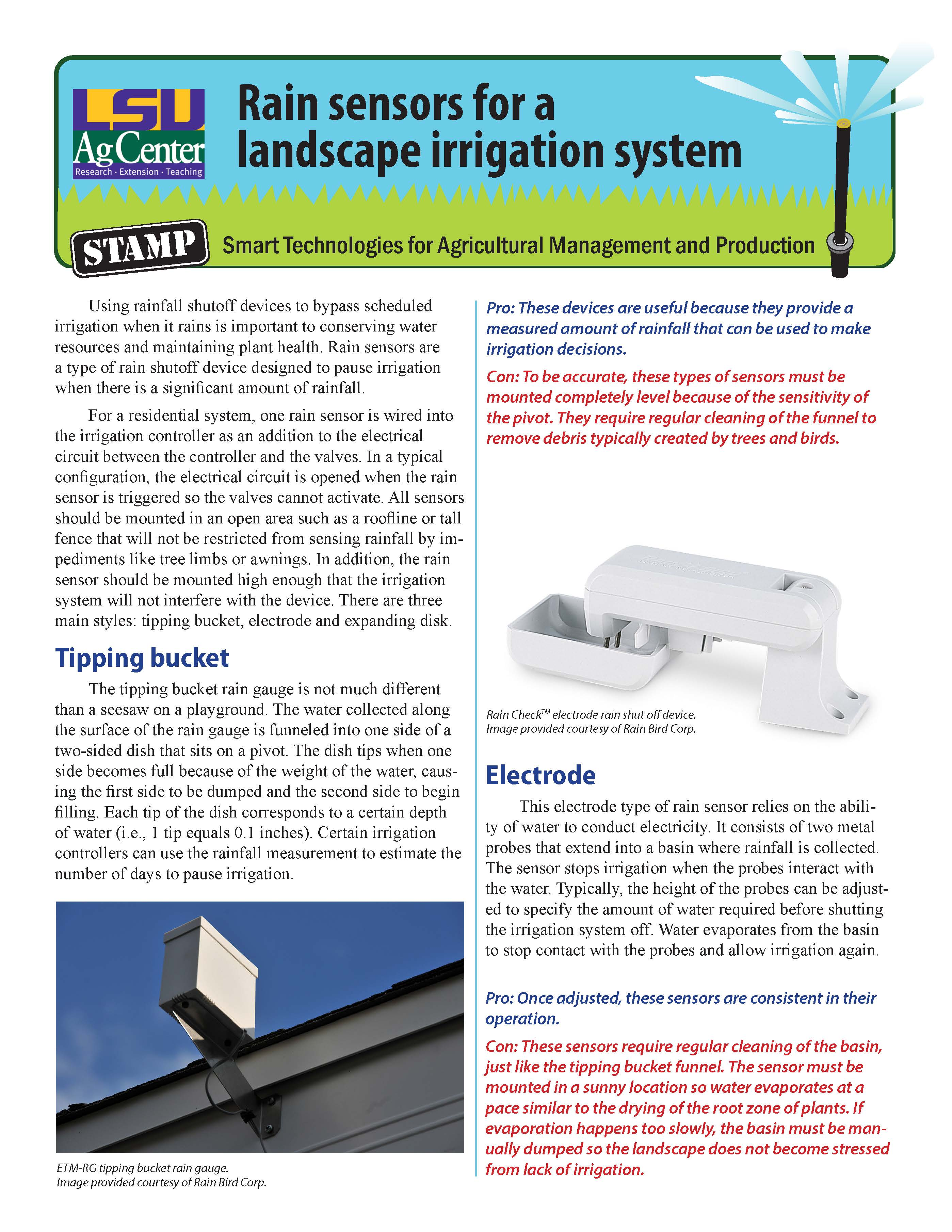 Rain sensors for a landscape irrigation system