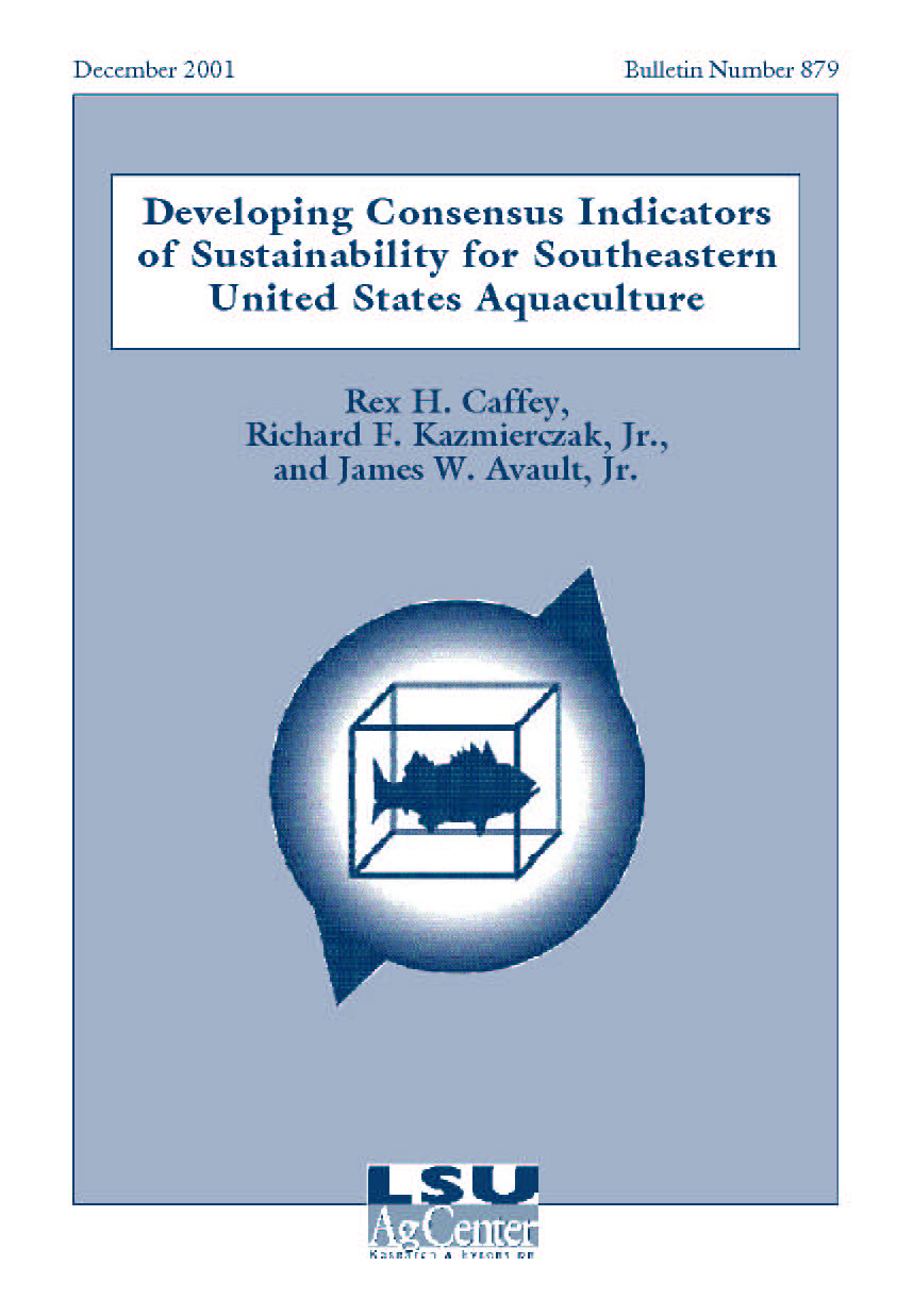 Developing Consensus Indicators of Sustainability for Southeastern United States Aquaculture (December 2001)