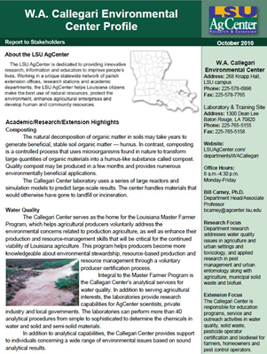 W.A. Callegari Environmental Center Profile