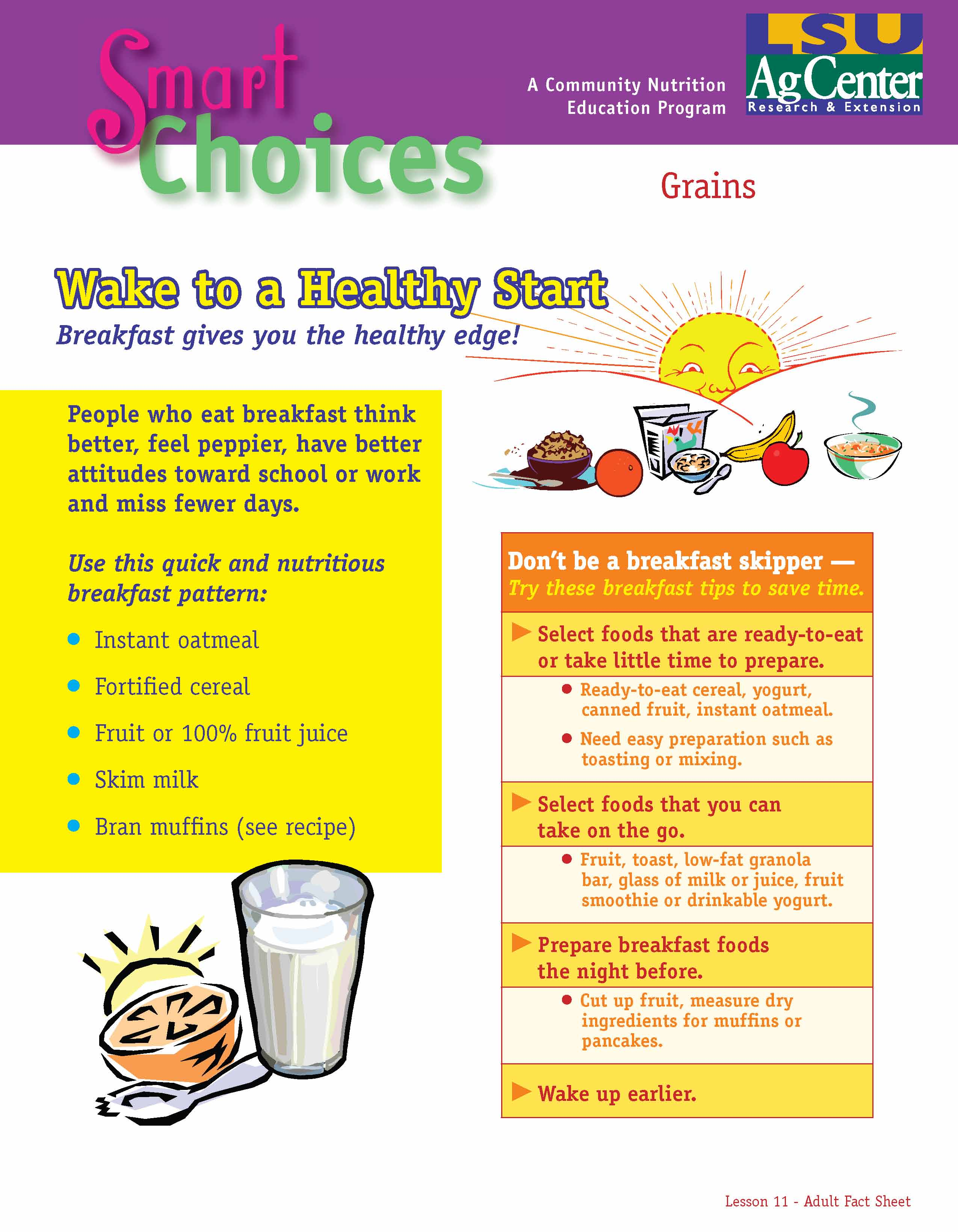 Smart Choices:  Wake Up to a Healthy Start