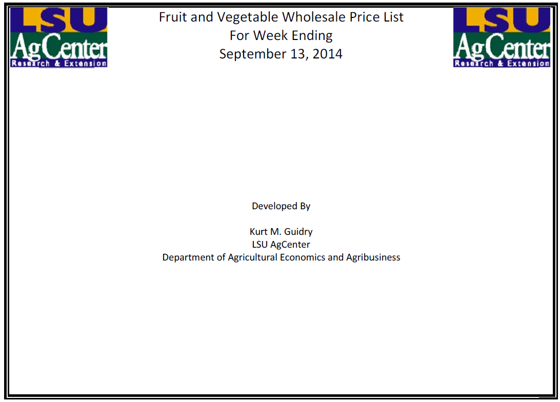 Fruit and Vegetable Wholesale Price 9-13-14