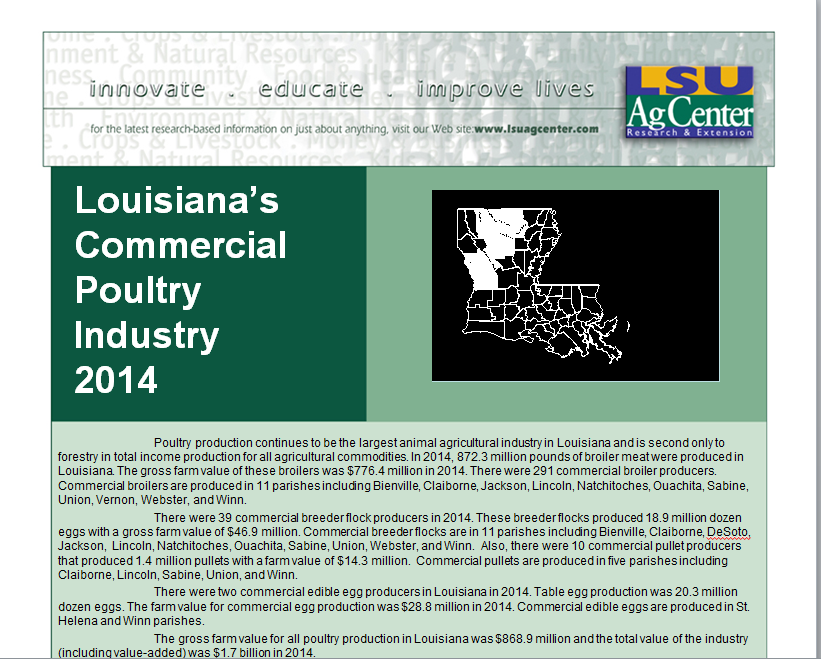 Louisianas Commercial Poultry Industry