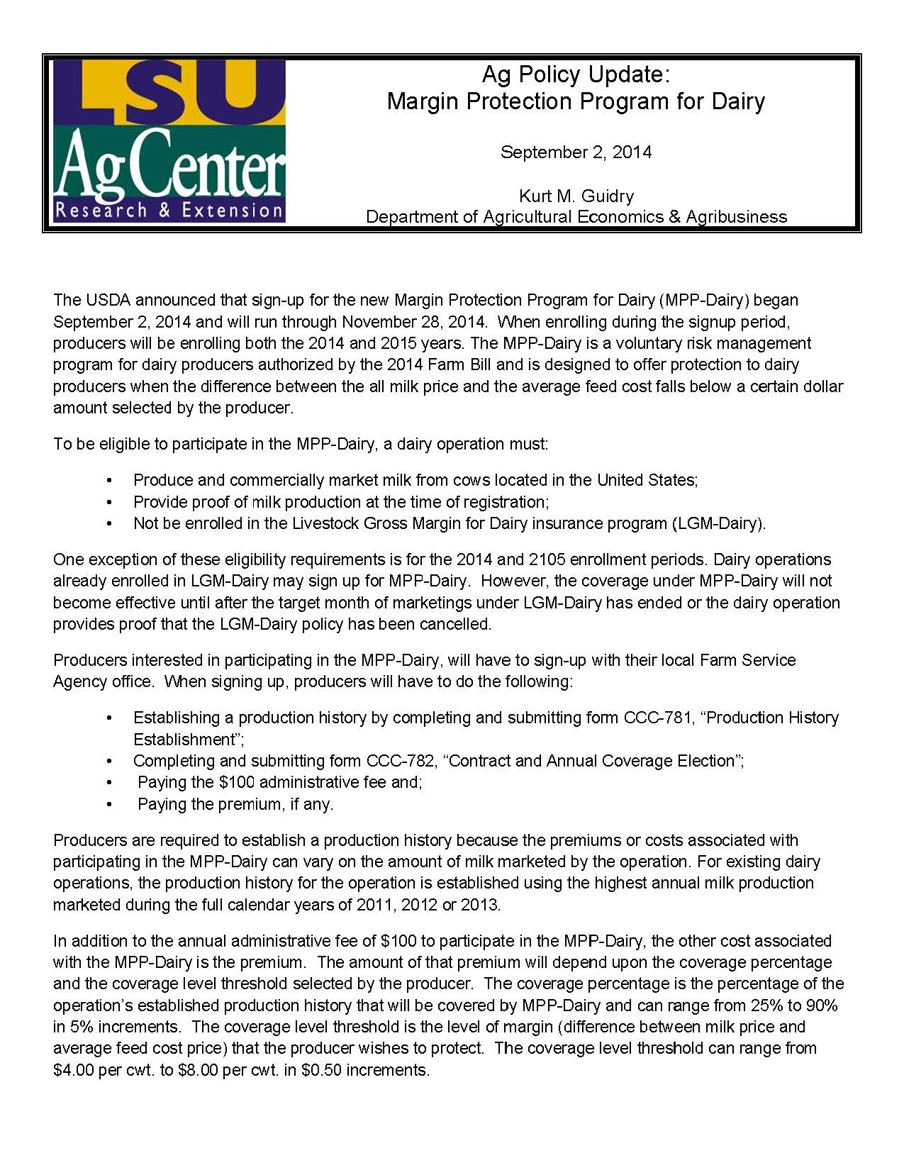 Ag Policy Update: Margin Protection Program for Dairy
