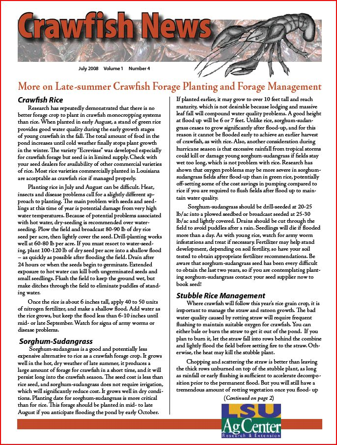 Crawfish News July 2008 (Vol 1 No 4)