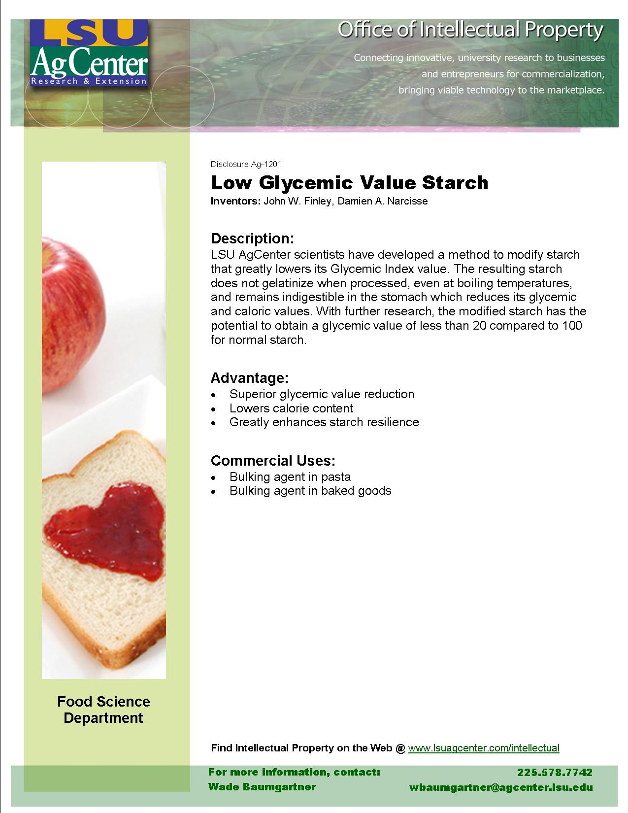 Low Glycemic-value Starch