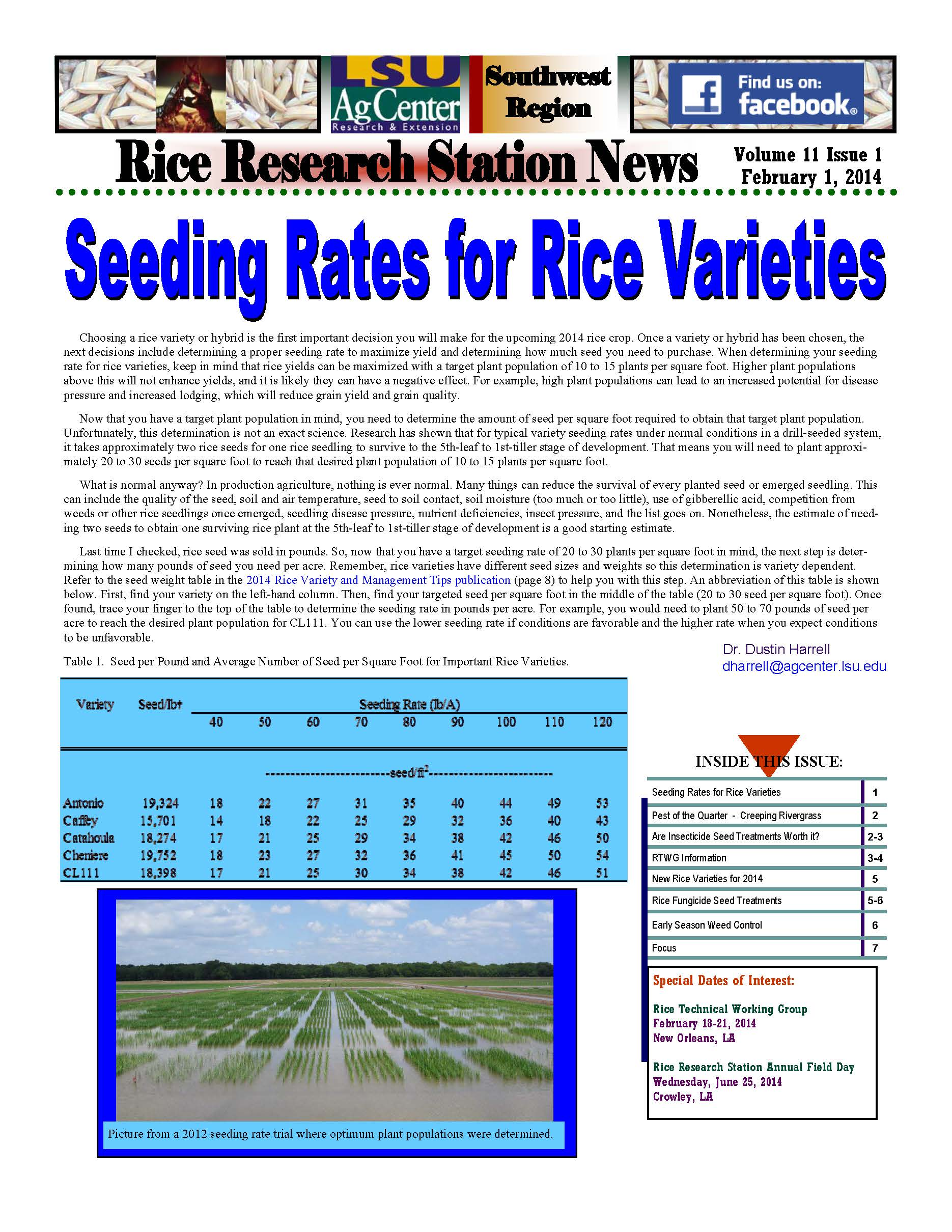 2014 Rice Station Newsletters