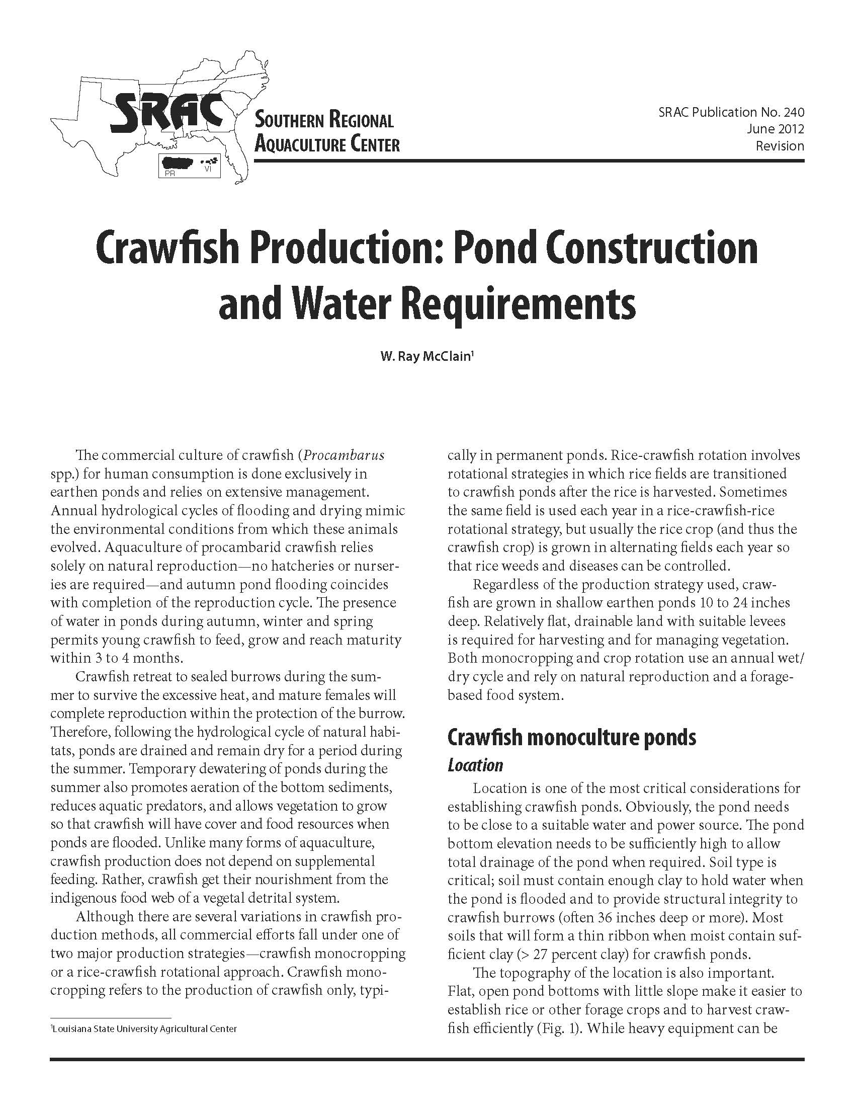 Crawfish Production: Pond Construction and Water Requirements