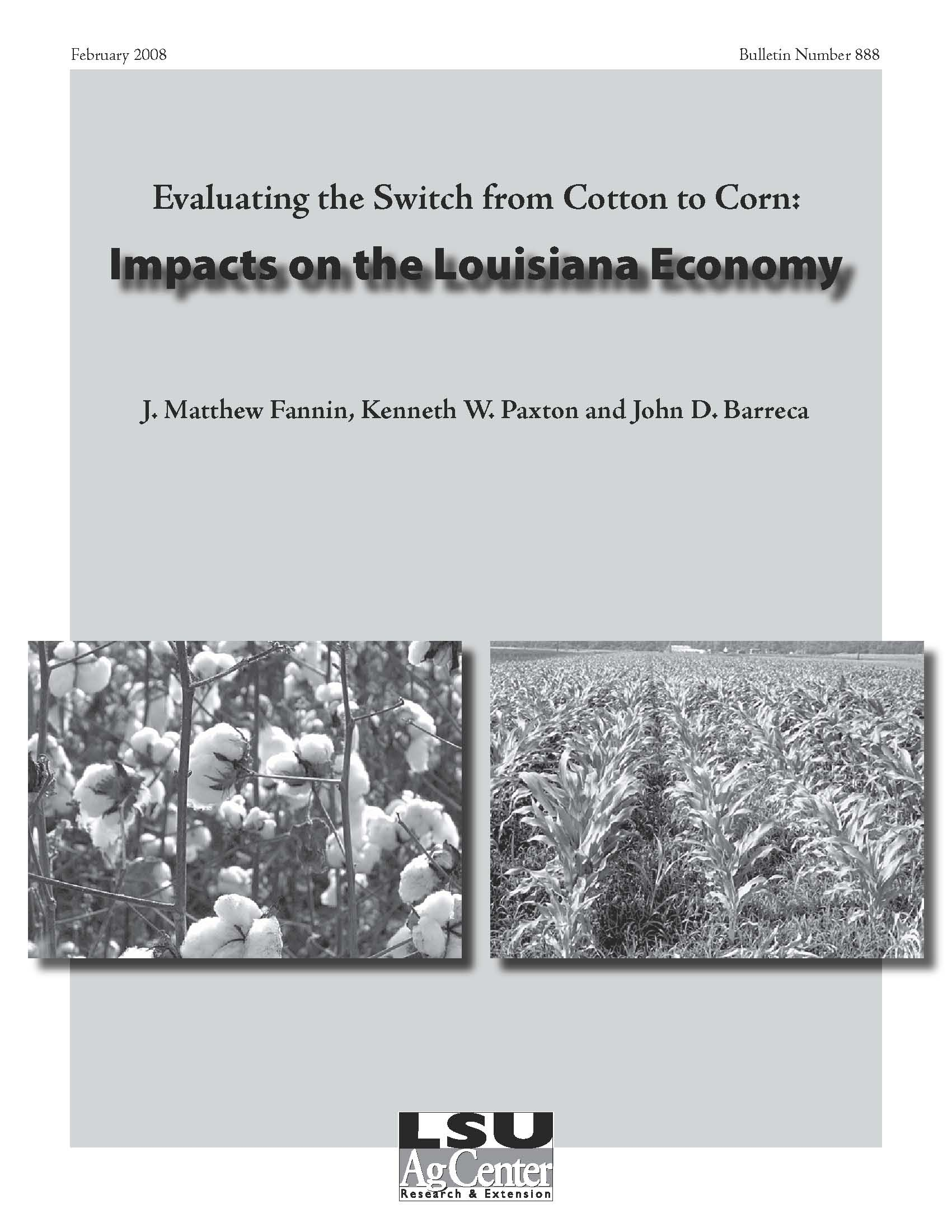 Evaluating the Shift from Cotton to Corn:  Impacts on the Louisiana Economy