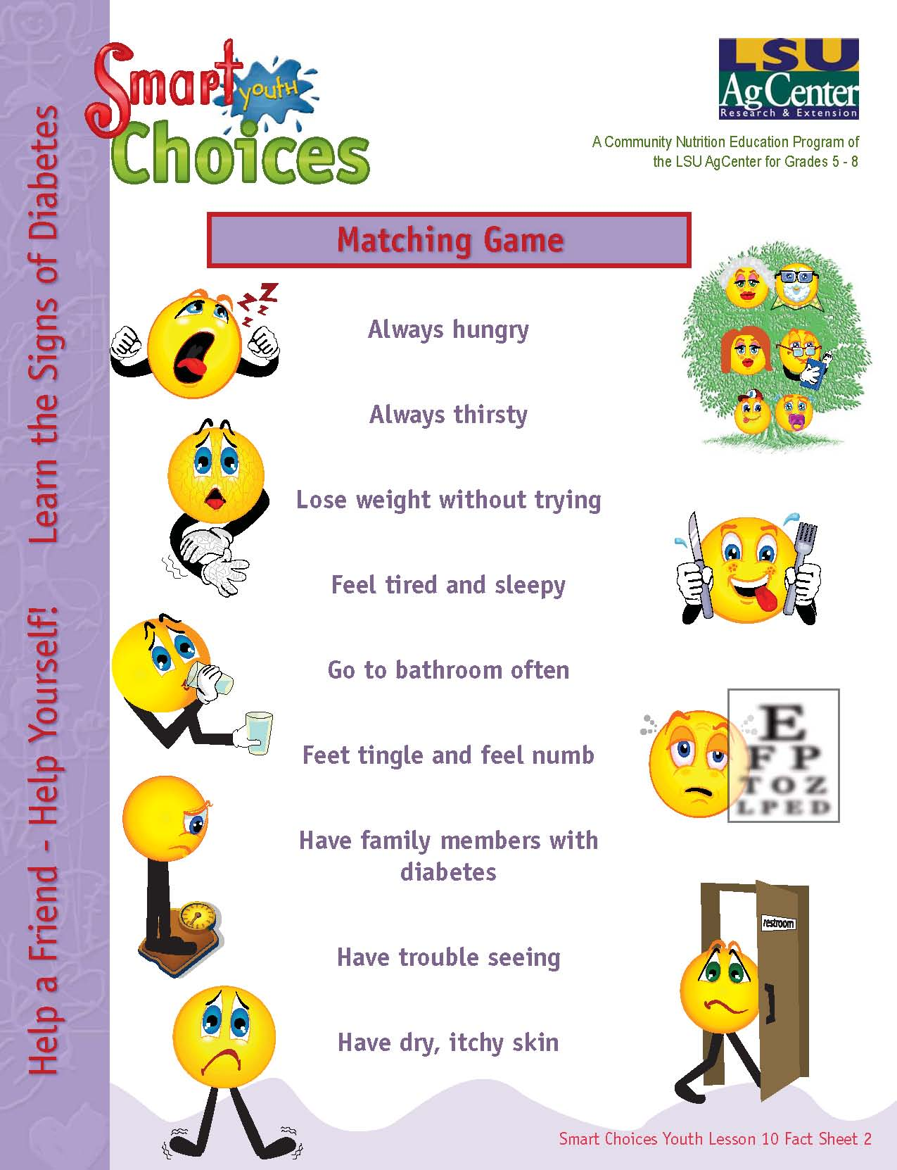 Diabetes Awareness - Always Hungry? Activity Sheet