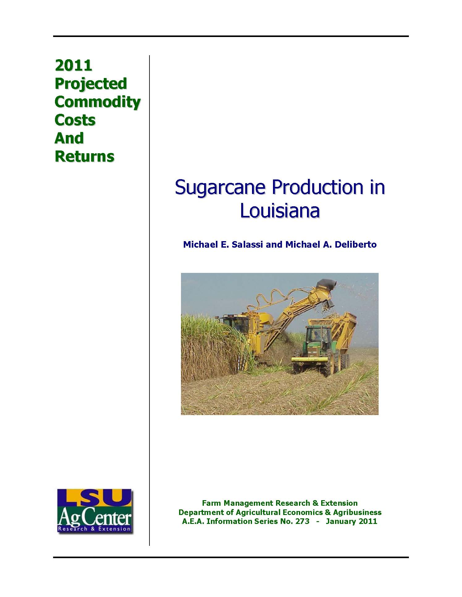 Projected Costs and Returns Sugarcane Louisiana 2011