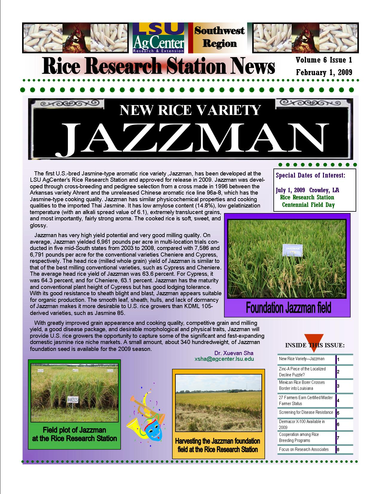 2009 Rice Station Newsletters