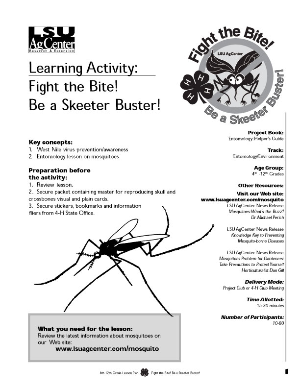 Skeeter Buster Activity Lesson