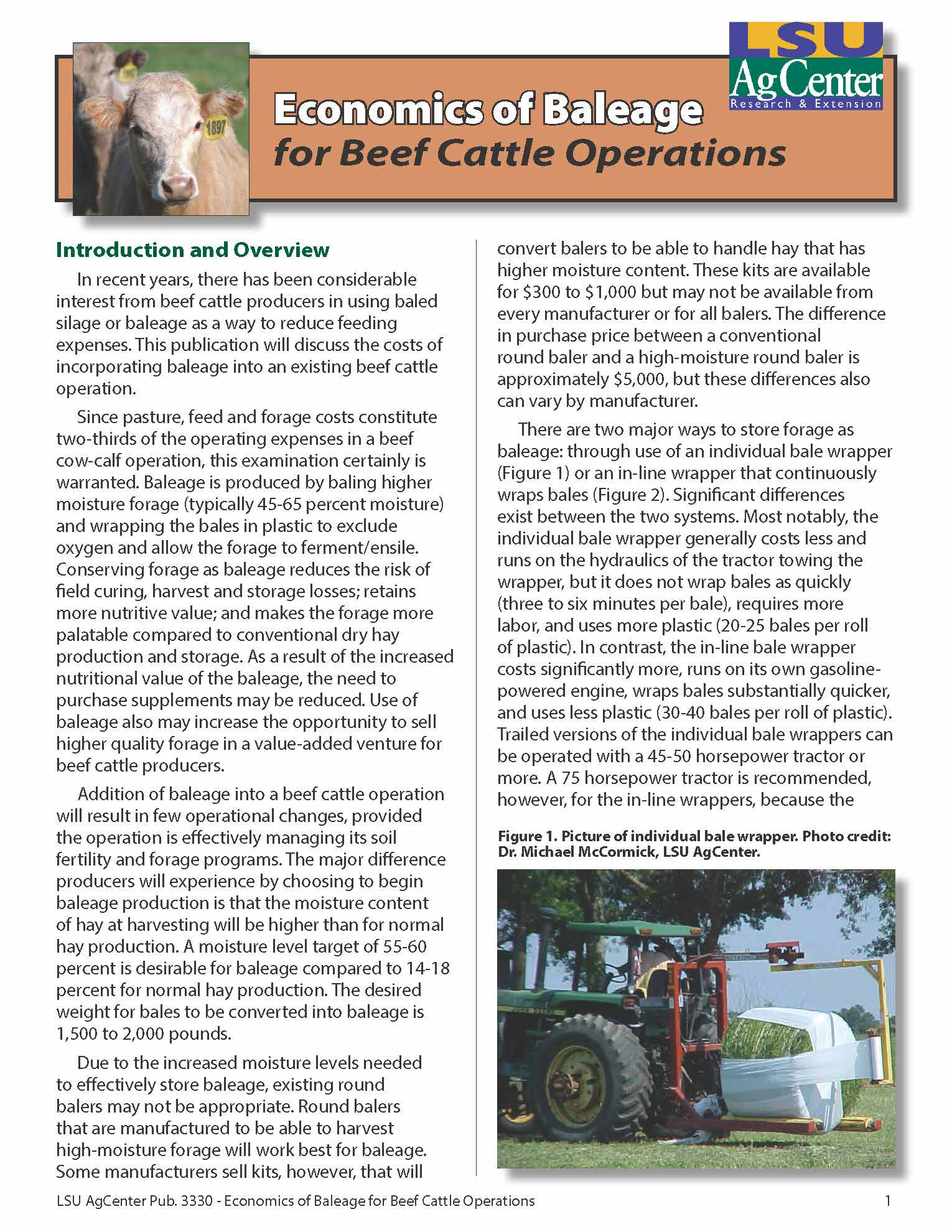 Economics of Baleage for Beef Cattle Operations