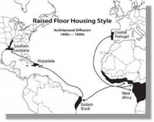 Map of architectural diffusion of the raised floor style