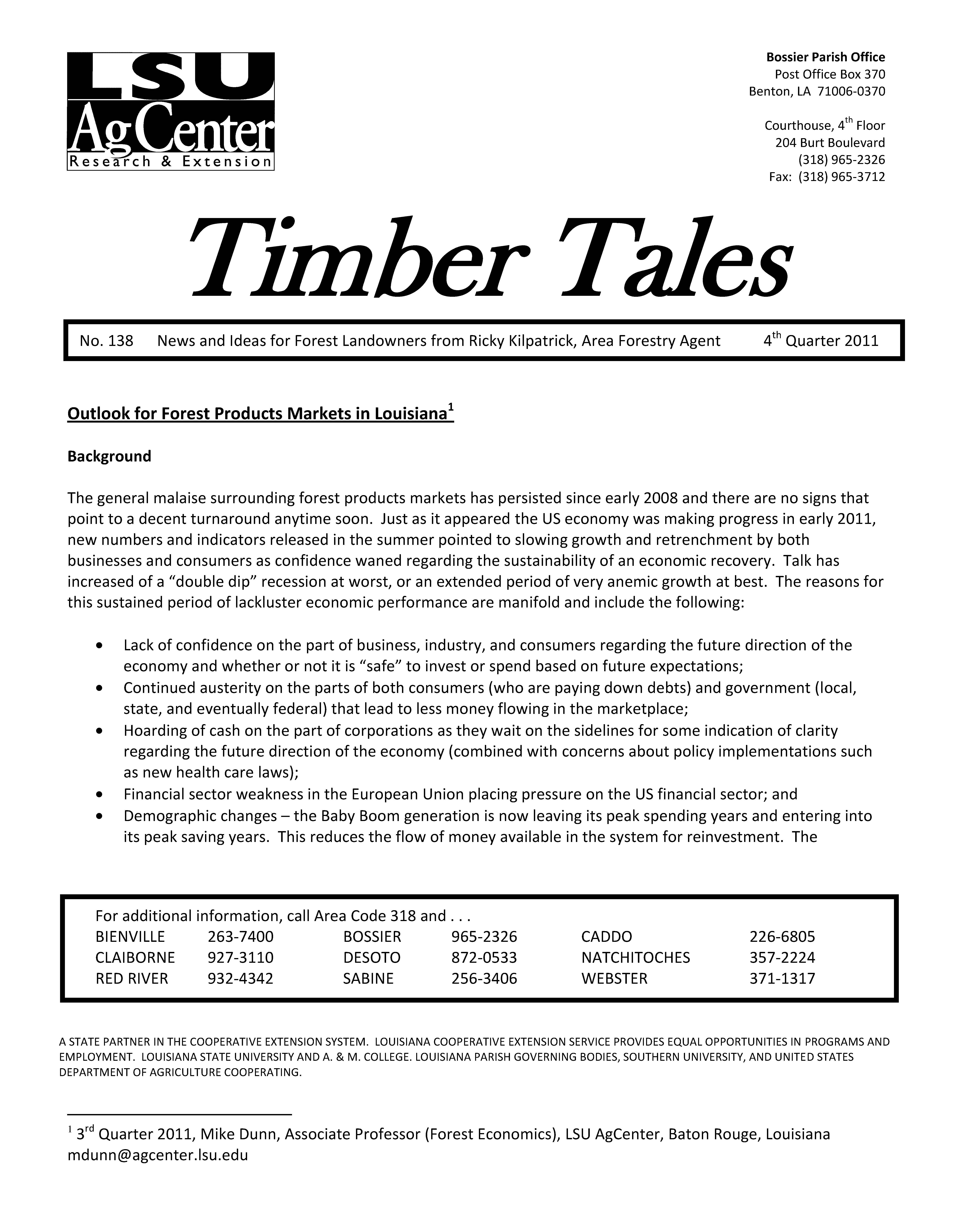 2011 Timber Tales Newsletters