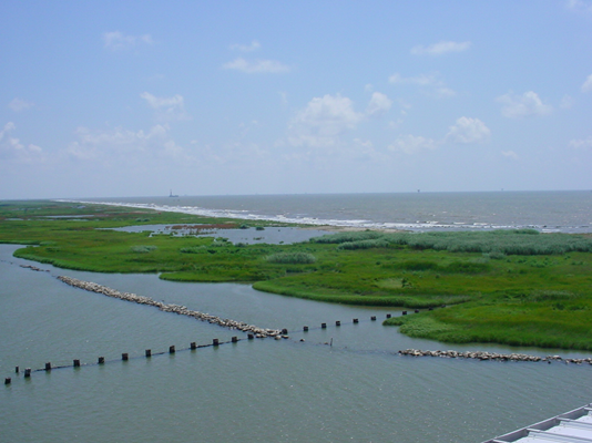 Photo showing area where river meets gulf
