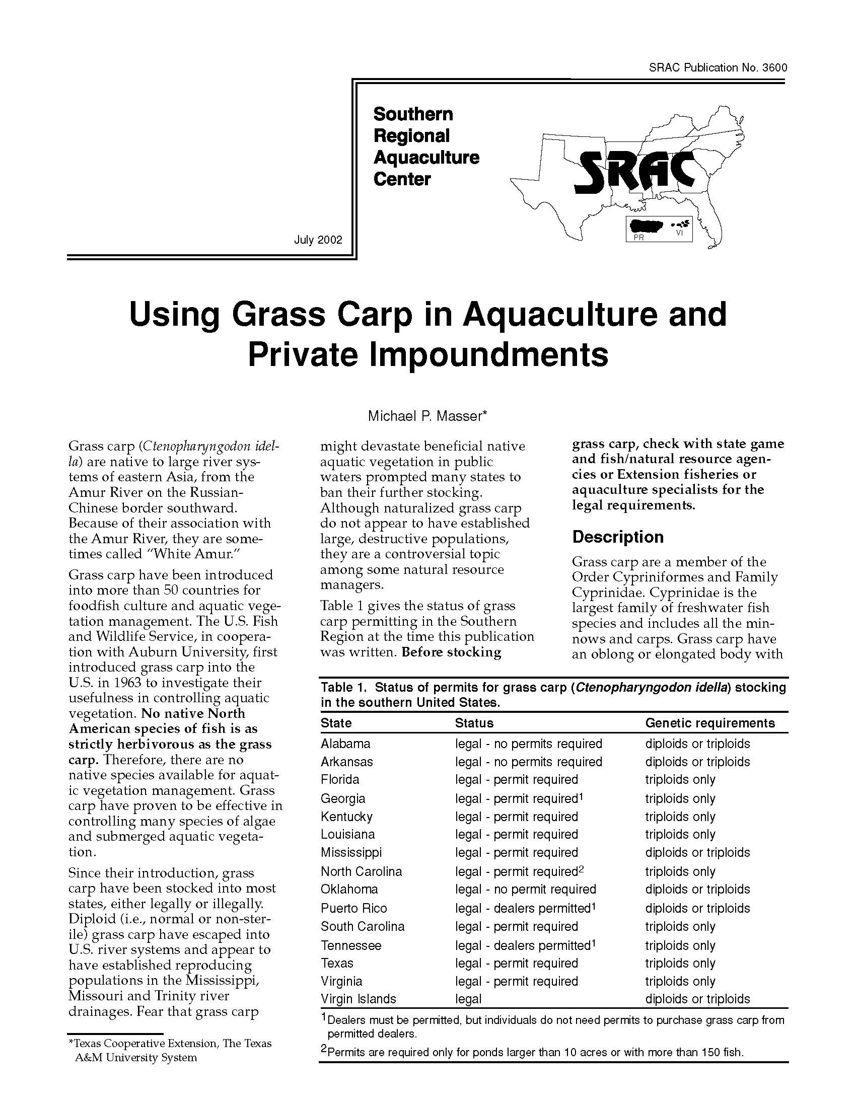 Using Grass Carp in Aquaculture and Private Impoundments
