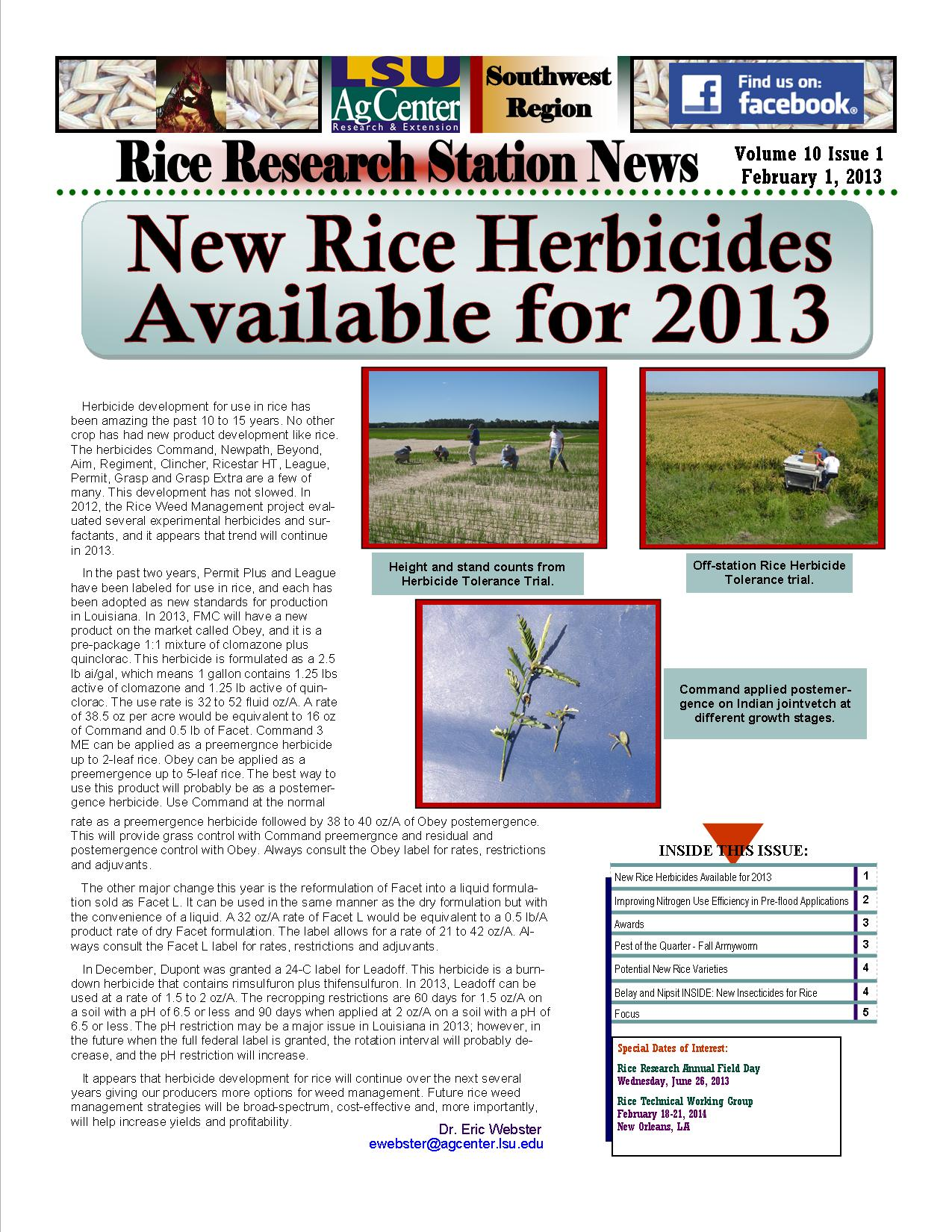 2013 Rice Research Station Newsletters