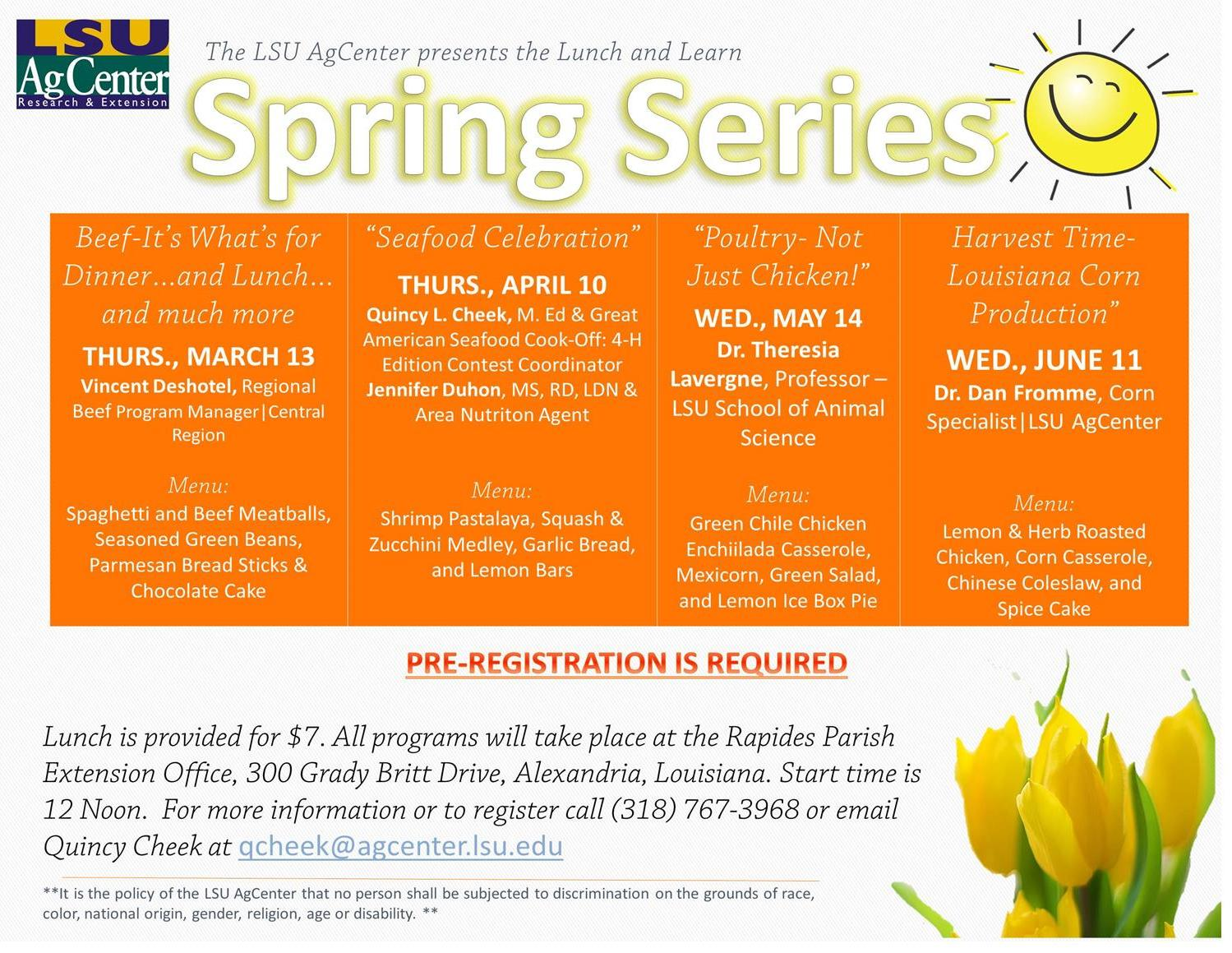 Flyer for 2014 Spring Lunch and Learn Series