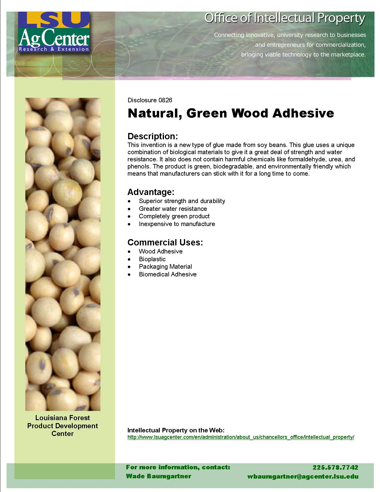Natural, Green Wood Adhesive