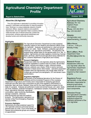 AgChemistry Department Profile