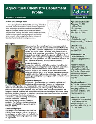 Agricultural Chemistry Department Profile