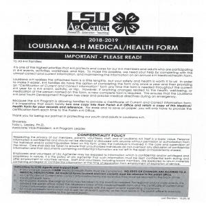 4-H Medical/Health Form rev 01/2019