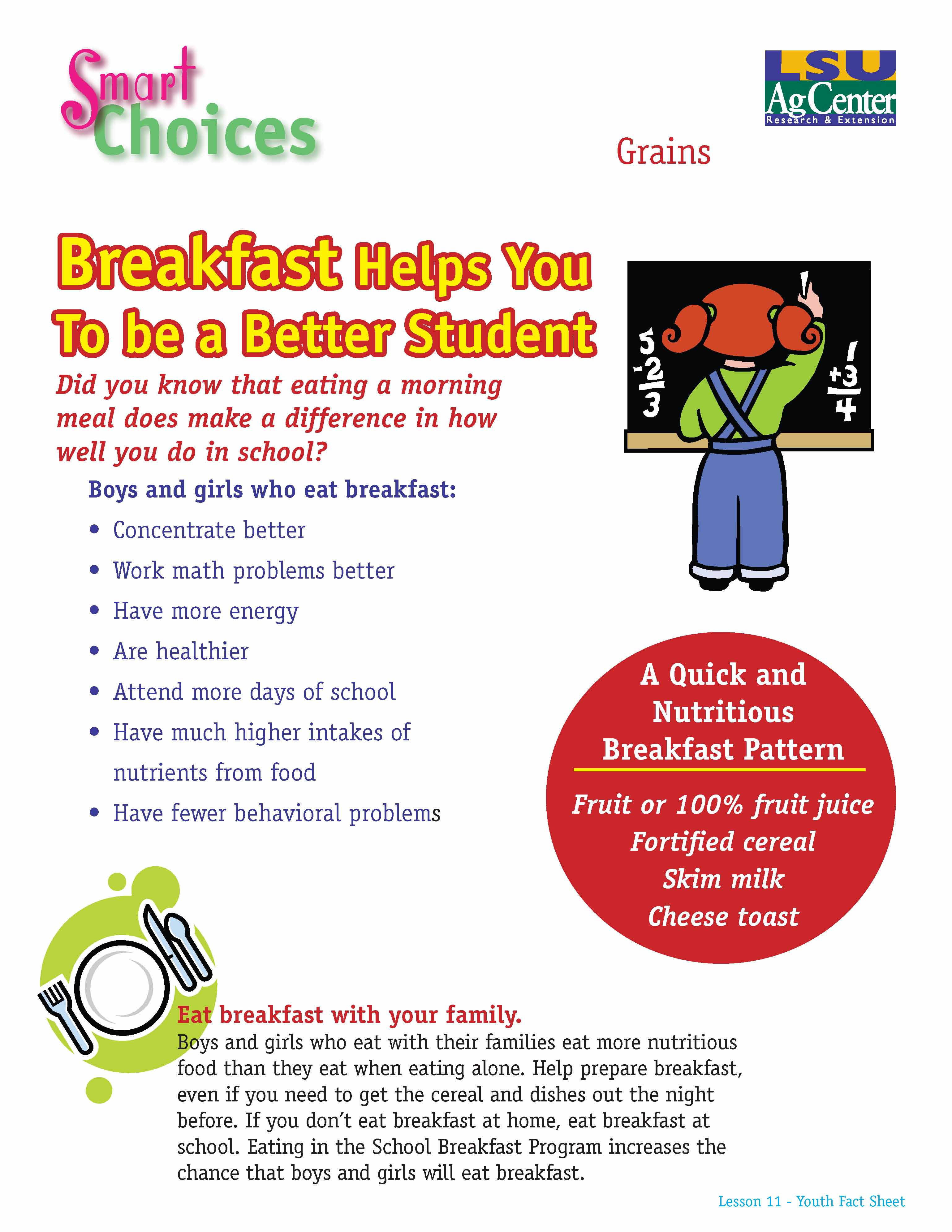 Smart Choices:  Breakfast Helps You Be a Better Student